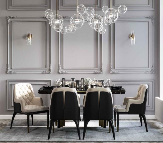 интерьер столовой Grey&Gold