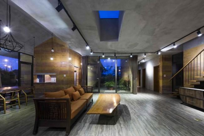 интерьер гостиной в земляном доме