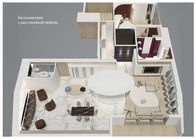 аксонометрия квартиры в мансарде