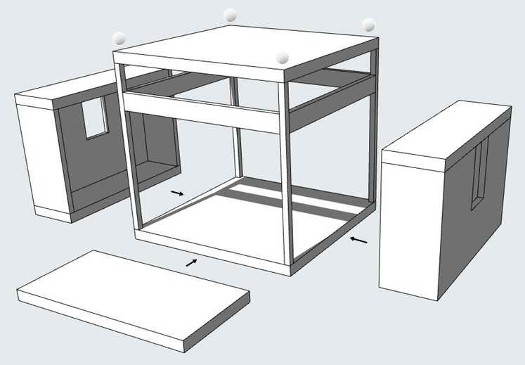 аксонометрическая схема дома, архитектор Гуров