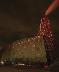 Энергетическая башня, фасад и концепция подсветки (designed by) Erick van Egeraat, освещение фасада Gunver Hansen Studio