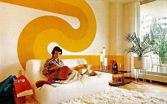 интерьер спальни в духе 70-х годов