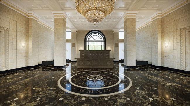 интерьер холла в многоэтажном жилом доме на улице Победы, архитектор Евгений Герасимов