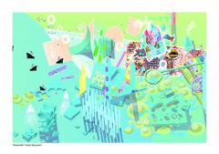 ландшафт города будущего: дамба, яма, улица