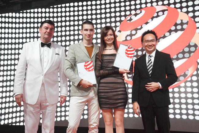 Григорий и Мария Малицкие во время награждения RED DOT Award Design Concept