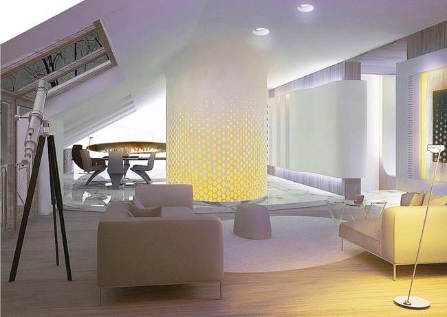 освещение гостиной в мансарде