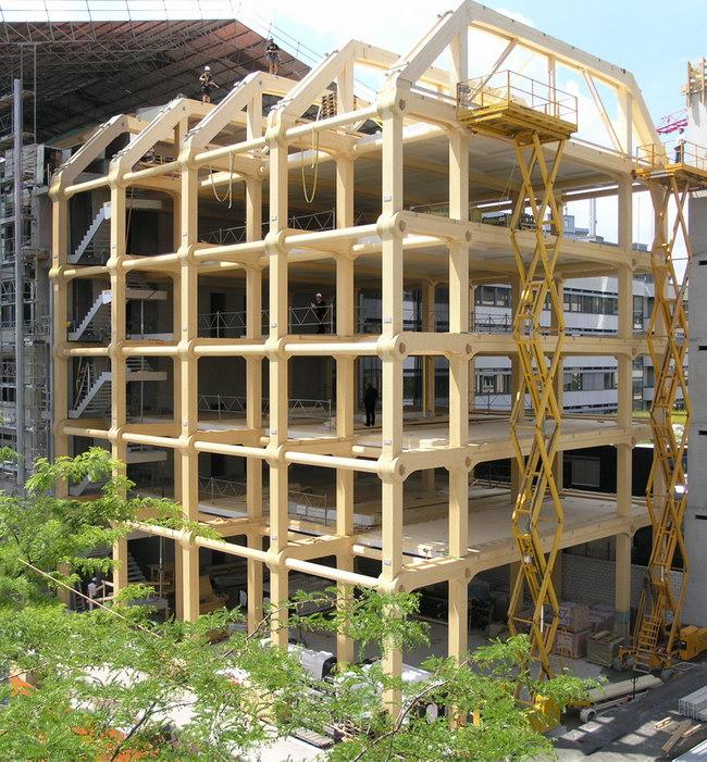 несущие деревянные конструкции здания Tamedia, Цюрих, Швейцария