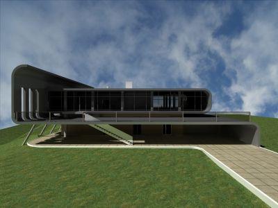 главный фасад современного загородного дома