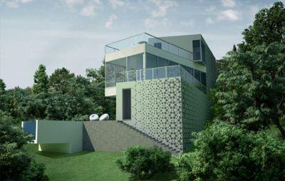 Фасад с остекленным фонарем, односемейный дом в Гурзуфе