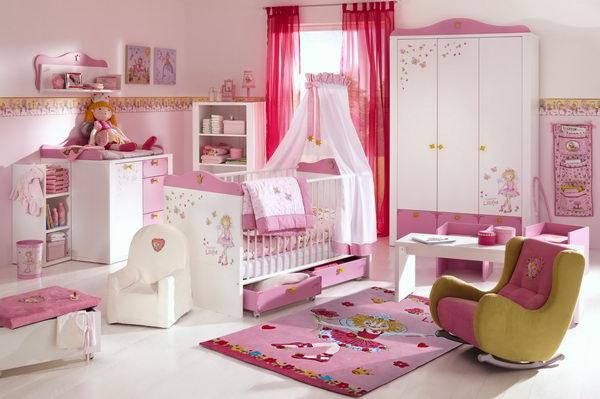 На фото интерьер спальни для девочки