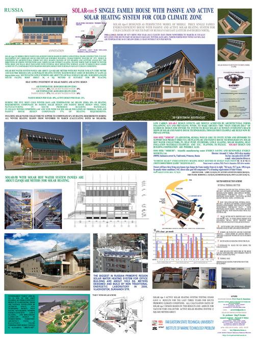 Солнечный дом (Solar House), проект для Приморья, Архитектор – П.А.Казанцев (пассивная система), ведущий конструктор активной солнечной системы  - А.В.Волков (ИПМТ ДВО РАН).
