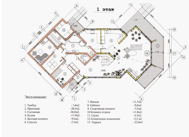коттедж, план первого этажа, автор -архитектор А.Легконогов