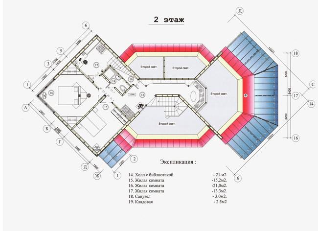 план второго этажа коттеджа на берегу озера, автор - архитектор Александр Легконогов