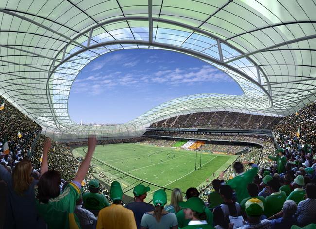 интерьер стадиона в Дублине, арена для регби, трибуны на 50000 зрителей