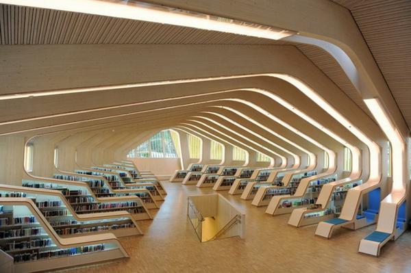 интерьер современной библиотеки
