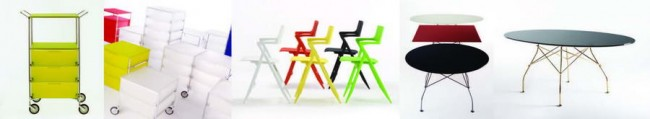 система хранения, стулья и столы - дизайн Читтерио для Картелл