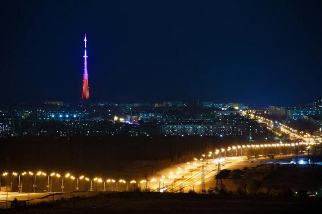 архитектурное освещение светодиодами, башня в Нижнекамске