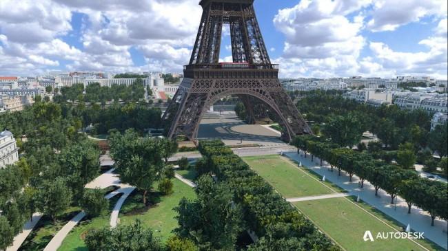 основание Эйфелевой башни в ландшафте