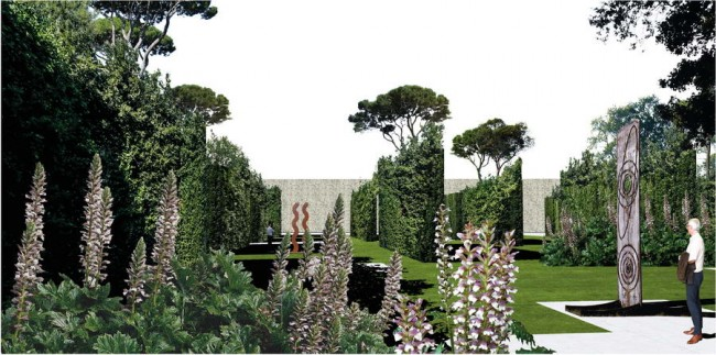 современная скульптура и растительность в парке