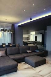 интерьер гостиной с бетонным потолком