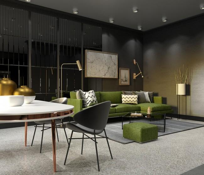 гостиная с зелёным диваном