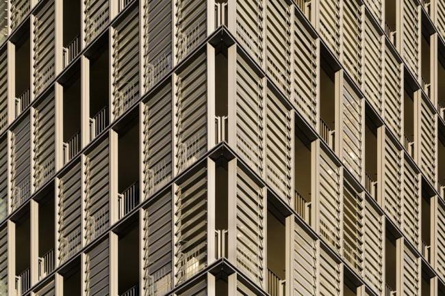 окна высотки с жалюзи