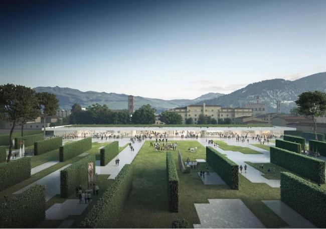 Центральный парк города Прато, вид на павильон и горы
