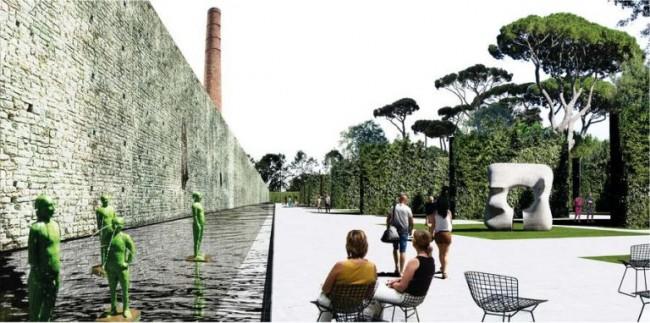 крепостная стена с водоемом в парке