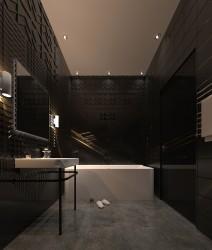 ванная комната с рельефной плиткой