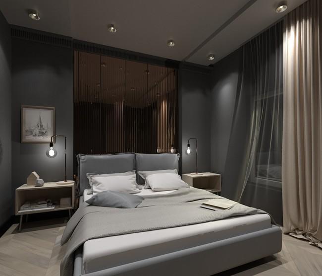 спальня с металлическим декором в изголовье