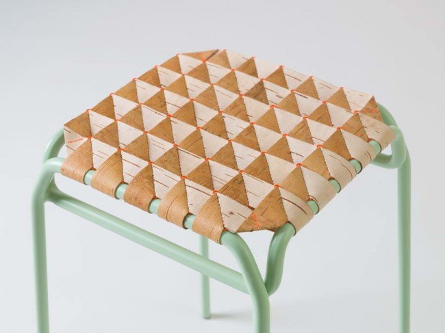 Табурет, береста, плетение с 3D-эффектом. Дизайн: Анастасия Кощеева.