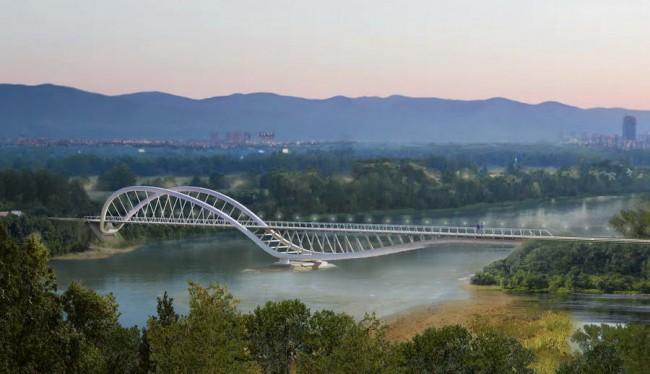 велопешеходный мост в ландшафте