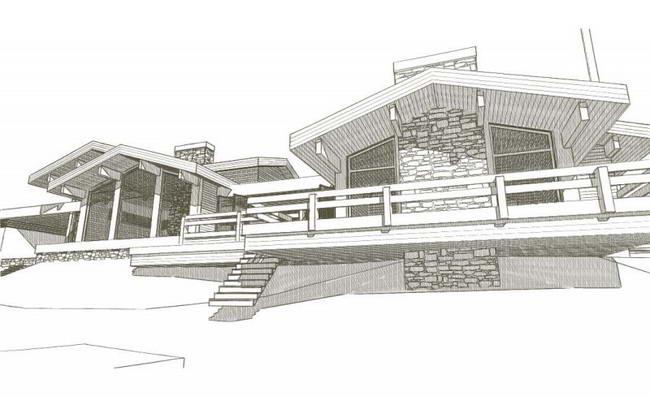 эскиз фасада дома на склоне у водоема
