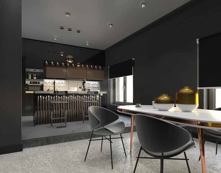 кухня-столовая с рельефным фартуком