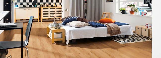 ламинат HARO бук в интерьере спальни