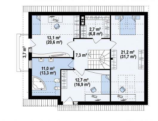 план загородного дома с большой прихожей  без тамбура