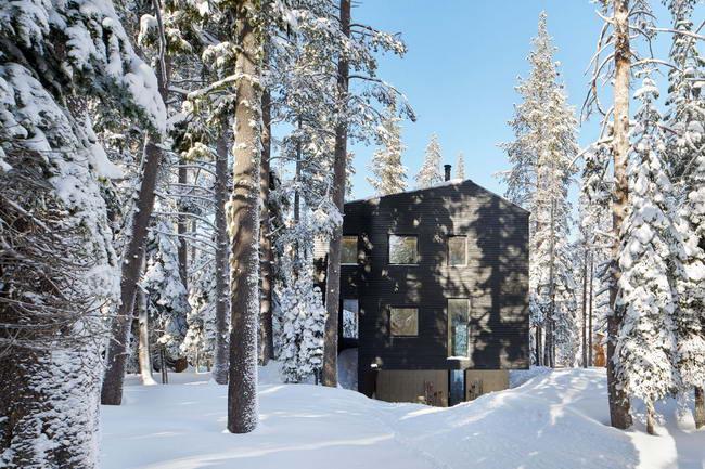 Общий вид дома из лиственницы зимой