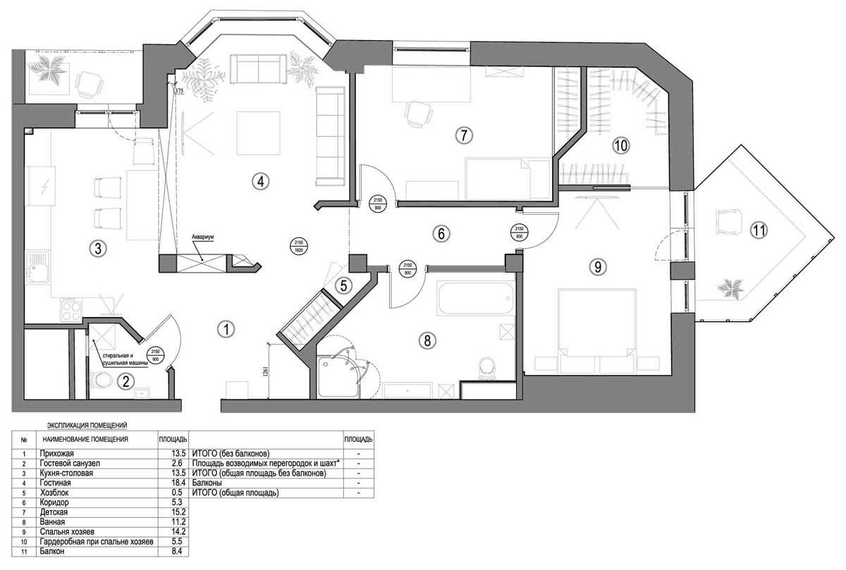 План квартиры (интерьер квартиры) - галерея формы.