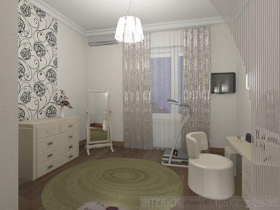 Спальня интерьер с окном и туалетным