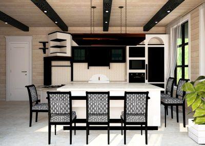 интерьер кухни в деревянном доме из бруса загородный дом из