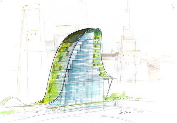 Архитектурная студия с интеграцией растительной системы и системы энергосбережения, рисунок, 2000-2013