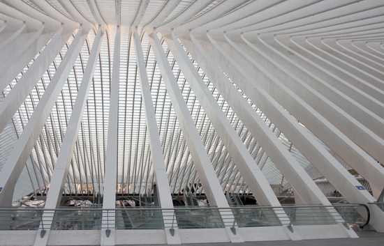 конструкция покрывающего вокзал купола, Сантьяго Калатрава